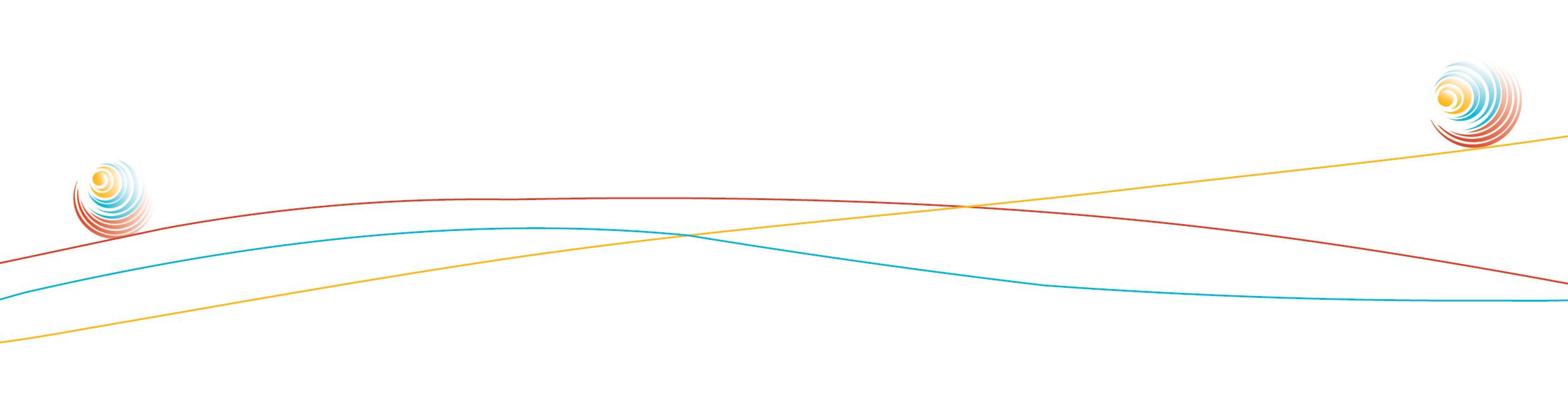 Spirale rollt über farbige Linien