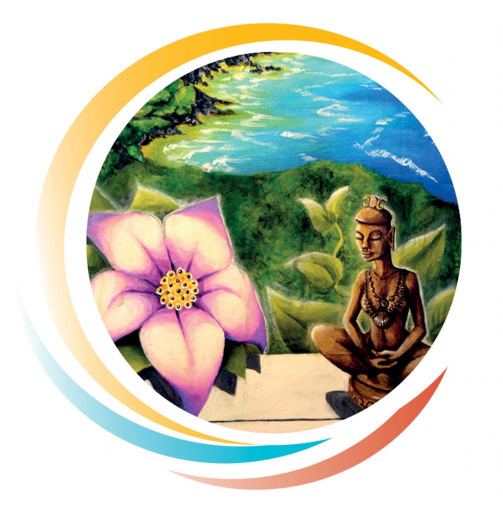Zeichnung Buddha-Statue und rosefarbeneBlüte am Ozean
