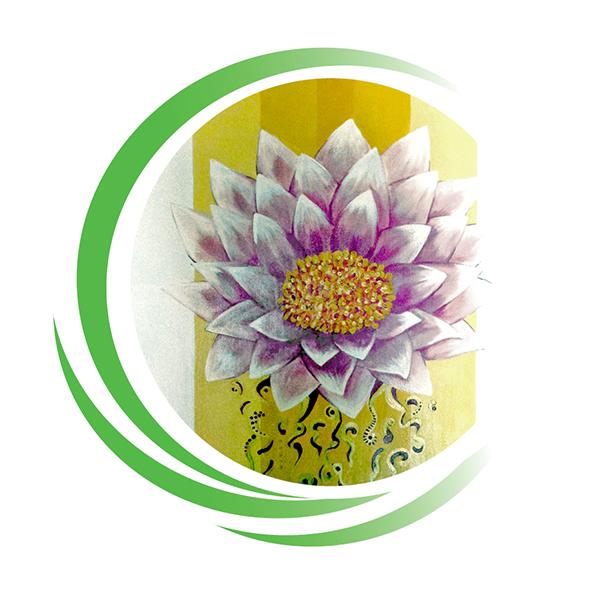 Lotusblüte an der Wand der Praxis Spuersinn für Physiothearpie in Berlin Friedenau